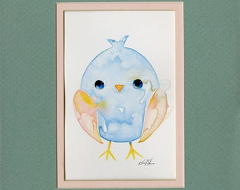 Chick, chicken, watercolor Painting, art, Easter Watercolor Painting in 8 x 10 mat Minimalist Abstract art Kathy Morton Stanion