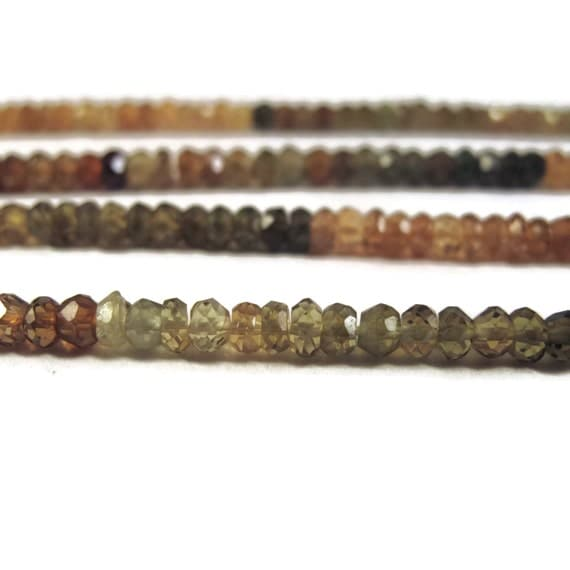 Petrol Tourmaline Beads, Faceted Rondelles, 3.5mm, 6.5 Inches of Microfaceted Gemstones for Making Jewelry (R-Tou3)