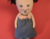 RESERVED for Martha only , sweet little art doll , sandy mastroni, calico dress, old lace,  , whimsical wall art ,shelf art,