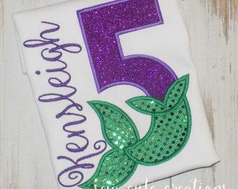Mermaid Birthday Shirt, Girl Birthday shirt, Mermaid Shirt, Mermaid Tail Birthday shirt, Mermaid Party shirt, sew cute creations