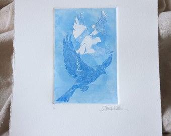 Original Art Stencil Print - Flight Pattern - in Sky Blue