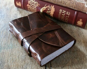 "Leather Journal - C.S. Lewis quote: ""You can't get a cup of tea big enough or a book long enough to suit me.""  handmade handbound (320pgs)"