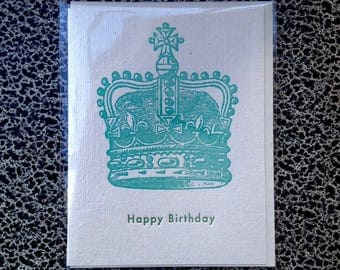 crown birthday letterpress card turquoise