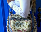 Pretty Floral With Blue Gypsy Tapestry Bag