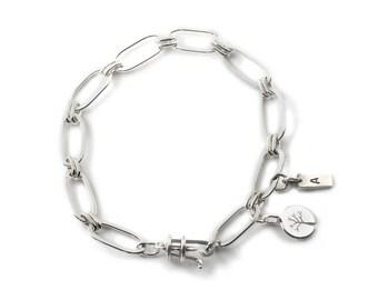 Handmade Bright Oval Link Sterling Silver Bracelet