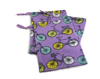 Bicycle Party Favors, Bicycle Bag, Fabric Gift Bag, Bicycle Treat Bag