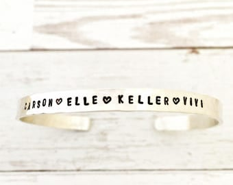 Sterling Silver Custom Name Bracelet - Childrens Names Cuff Bracelet - Personalized Jewelry - Hammered - Gift for Her, Mom, Wife