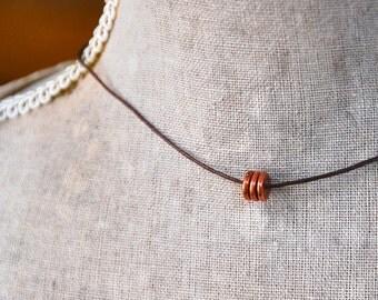 Choker necklace /short necklace  /simple necklace /layering necklace /copper necklace. Tiedupmemories