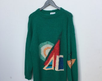 Amazing Vintage Oversized Green Wool Sweater with Geometric Detail SZ L