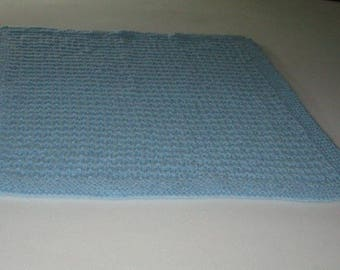 Blue Hand Knit Baby Blanket
