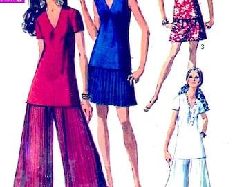 60s Palazzo pants Mod tunic top skirt vintage sewing pattern Simplicity 8573 Bust 34