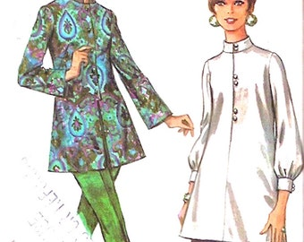 Womens Nehru blouse button front retro 60s Mod tops sewing pattern Vintage MCCalls 9460 sewing pattern Bust 32