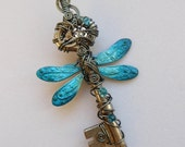 Dragonfly Clockwork Key Pendant -- Turquoise Dragonfly Steampunk Winged Key, Dark Silver-Grey Hematite Wire, Gears, Crystals (A Key to Time)