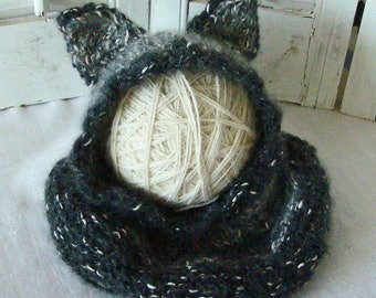 Baby Wolf Hat Wolf Hood Costume Hand Knit 3-6M or 6-12M READY to SHIP or CHOOSE Size in Alpaca