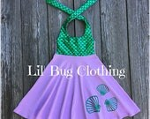 Mermaid Lavender Seashell Girl Dress, Mermaid Birthday Girl Seashell Dress, Mermaid Ariel Princess Dress, Mermaid Birthday Party Costume