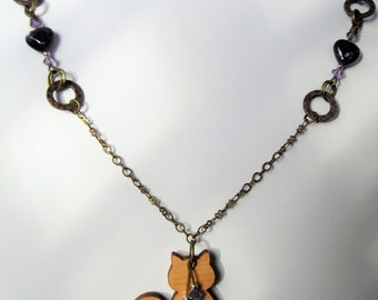 Cat - Wood Kitty Cat, Amethyst Hearts and Purple Swarovski Crystal Antiqued Brass Chain Necklace - 26 inches