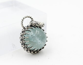 Laurell No1// Aquamarine Gemstone in Sterling Silver, Gemstone Metalsmith welded pendant necklace by bellalill