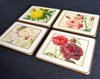 Vintage Coaster Set -MADE in ENGLAND -Rose Floral Coasters 1960's Hostess Gift