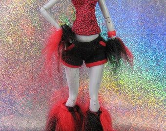Black and Red Cyber Fluffy Leg Warmers or Boot Covers and Wrist Warmers for Monster Dolls