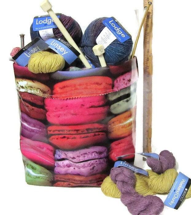 Knitting Supplies Storage Ideas : Oilcloth storage yarn supplies holder sweet treats theme