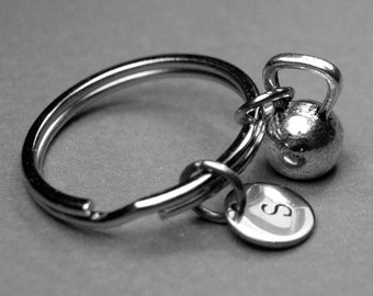 kettlebell keychain, kettle bell charm, gym keychain, exercise keychain, personalized keychain, initial keychain, fitness keychain, letter