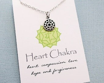 Heart Chakra Necklace | Yoga Jewelry | Chakra Charm Pendant | Sanskrit Charm | Meditation Jewelry | Quote Card | Sterling Silver