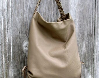 Slouchy Leather Hobo Bag in Taupe by Stacy Leigh
