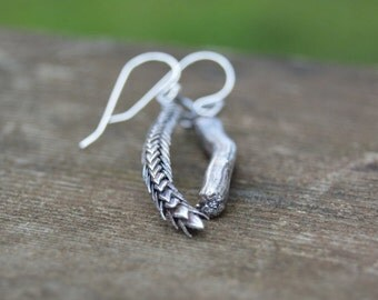 nature lover earrings - cast sterling silver succulent and driftwood earrings