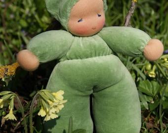 Spring Green Waldorfdoll - Waldorf Doll - Cuddle Doll according to waldorf pedagogy - Waldorfdoll