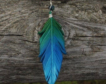 Shimmery Green and Blue Feather Pendant - Leather Bird Feather Jewelry - 3 inch Necklace