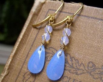 Opal Blue Earrings Periwinkle Blue Opal Glass Dangle with Opalite, Czech Briolette Brass Leverback, Dusky Blue Teardrop Earrings