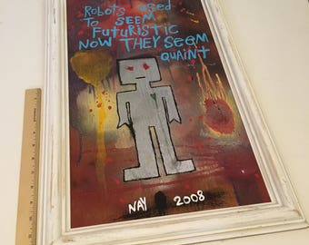 Framed Robot Art Word Painting Original Canvas Quote - Nayarts