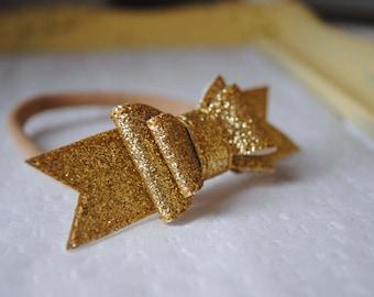 Gold Bow Headband - Nylon Baby Headband - Baby Girl Bow - Gold Glitter Bow Headband - Soft Baby Head Band - Baby Bow Headband - 3 Inch Bow