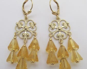 Filigree Chandelier Earrings - Light Topaz
