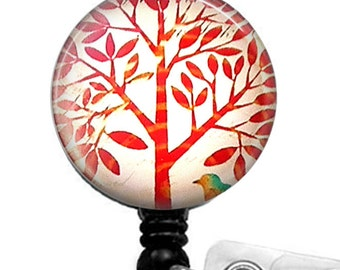 Retractable ID Badge Reel,  Red  Tree on White,  ID Badge Holder, Name Badge Holder 63