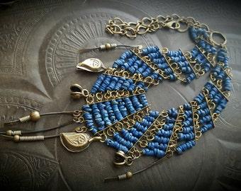 Vintage, Boho, Gypsy, Shell, Amulet, Talisman, Brass, Choker, Kuchi, Banjara, Chain, Statement, Beaded Necklace