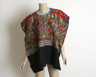 Vintage Woven Huipil - Guatemalan Rainbow Colorful Ethnic Poncho Hippie Top - Open Sides - Fits Most