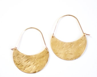 Hammered Crescent Moon Hoop Earrings - Brass | 14k Gold Fill | Sterling Silver