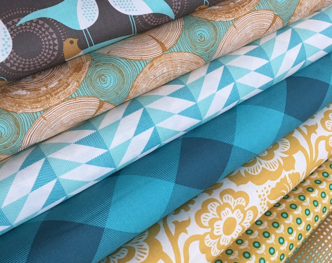 Modernist Fabric Bundle, Bird Fabric, Quilting bundle, Plaid fabric, Woodgrain fabric, Joel Dewberry, Fabric Bundle of 7, Choose your Cuts
