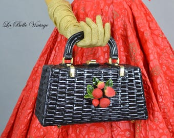 Novelty Berry Purse Vintage 60s KORET Wicker Handbag