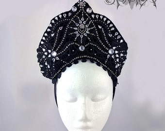 Black Lace and Rhinestone Tiara, Burlesque Headdress, Kokoshnik   Sequin Headdress, Headpiece,