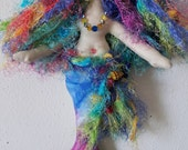 ON SALE: Whimsical, rainbow colored tropical fiber sculpted mermaid with silk upper body/face, batik tail, Swarovski crystal accents