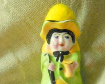 Vintage Sweet little Lady wearing Hat turned into Pin Cushion