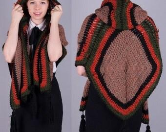 "Bohemian Crochet Vintage 1970s Vtg 70s Boho Knit Shawl Cape HUGE HOOD Tassel S/M/L/XL One Size ""Mr D"" Italy"