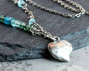 Blue Apatite Necklace  Oxidized Silver Gemstone Jewelry Handmade  Jewellery Heart Charm Necklace  Unique Romantic Gift