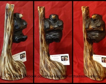 Chainsaw Carved Black Bear Business Card Holder
