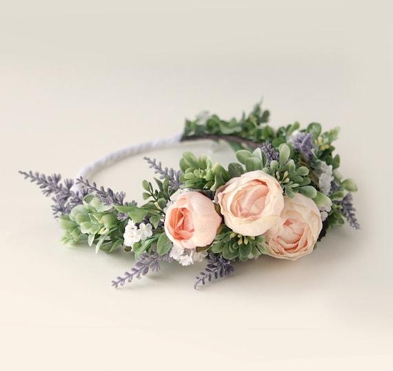 Pink rose woodland crown, Lavender and greenery, Artificial floral head wreath, Bridal hair crown, Pink flower wreath, Wedding hair crown