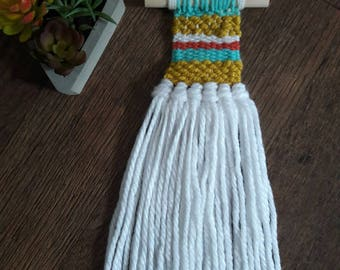 Fiber Fringe Weaving Wall Hanging Small Turquoise Blue White Coral Yellow