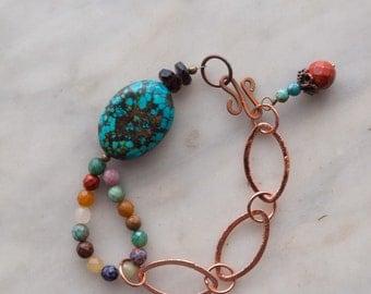 Turquoise Bracelet Boho Bracelet Copper Chain Link Semiprecious Statement Bracelet Gift for Best Friend Gift for Her Gift for Women