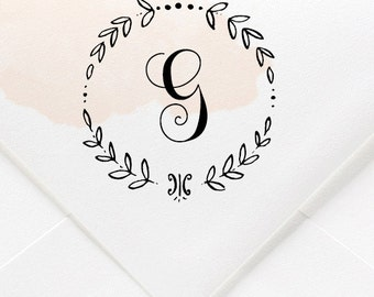 Custom Single Initial Wreath Monogram Rubber Stamp